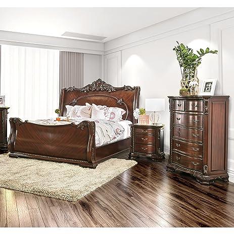 Amazon.com: Furniture of America Luxury Brown Cherry 3-Piece Baroque ...