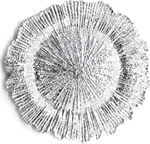 Allgala 13-Inch 6-Pack Heavy Quality Round Charger Plates-Reef Silver-HD80332