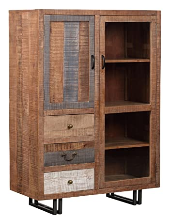 The Wood Times Kommode Highboard Schrank Massiv Vintage Look New Rustic Mangoholz BxHxT 95x135x45 Cm