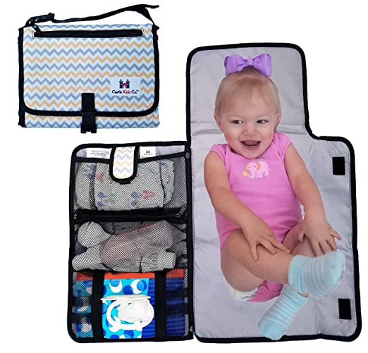 Diaper Changing Pad - Luxury Clutch Portable Travel Mat for Baby - Easy Access Wipes! Washable! Orange, Grey & White