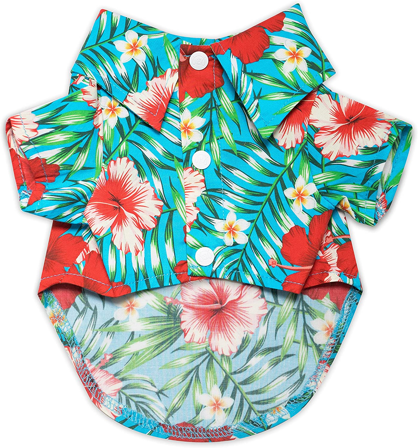 United Pups Hawaiian Shirt for Dogs Small to Medium Pets Cats Design for Summer Luau Style Beach Camp Vacation Floral Puppy T-Shirt