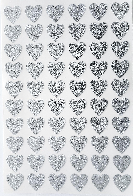 60 Glittery Silver HEART Stickers 20mm