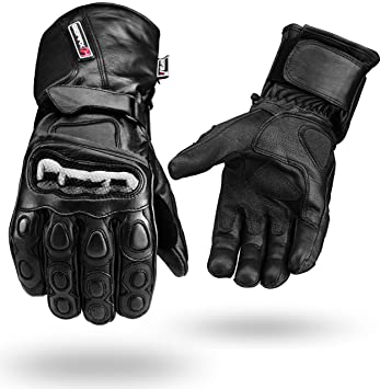 78df51c5ad3d0f Winter wasserdichte Leder Handschuhe Motorrad Knöchel Schutz - Schwarz, S
