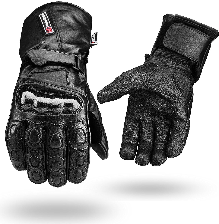 color negro Guantes para moto de piel impermeables perfectos para invierno, cuero