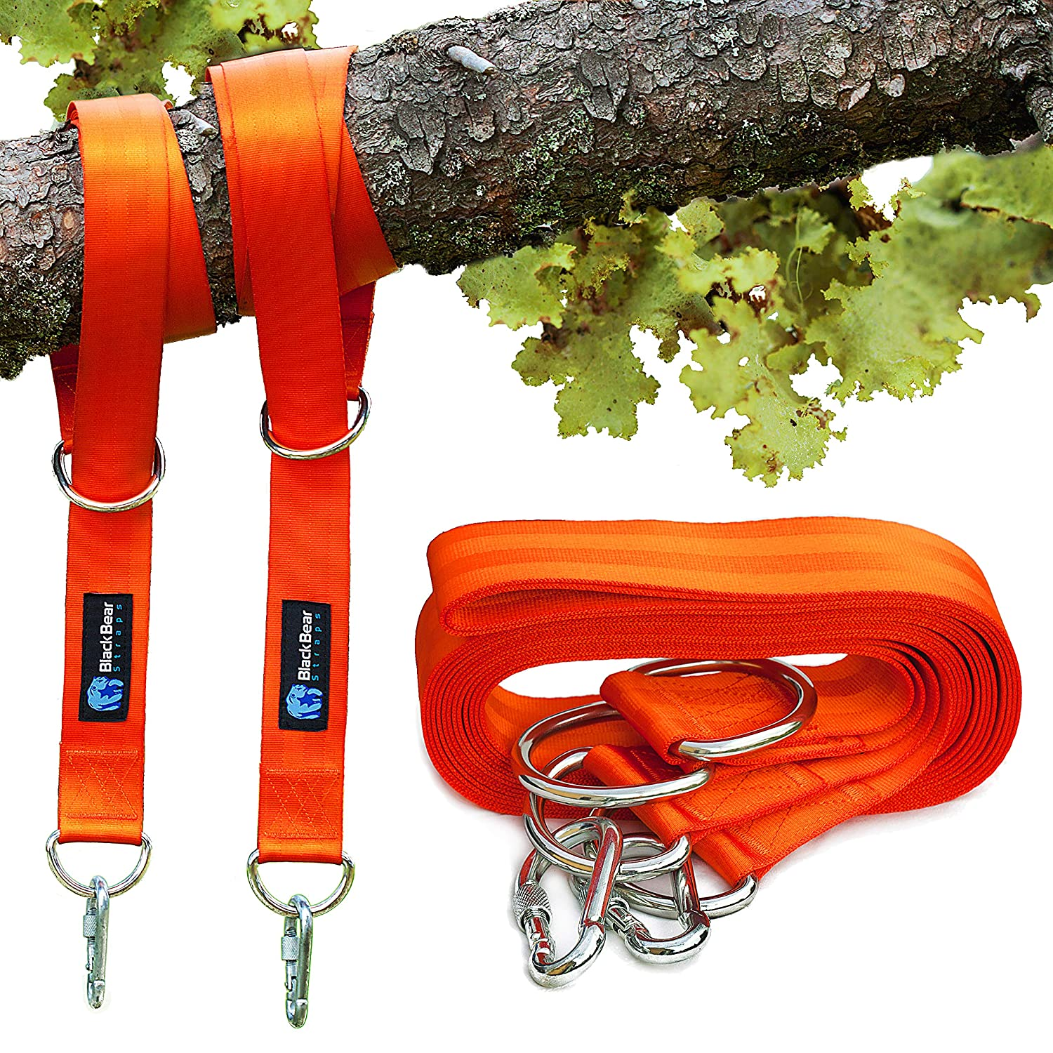Tree Swing Straps Hanging Kit - BlackBear Straps - 10ft, Set of 2 - Heavy Duty Holds 2400lbs - Two Stainless Steel Carabiners - Universal Easy Hang Tree Straps, Connect to Any Swing Set or Hammock BlackBear Products