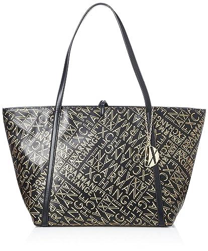 Armani Exchange Gold Logo Shopping Bag Women s Tote, Gold (Black Gold), d1a9528d52