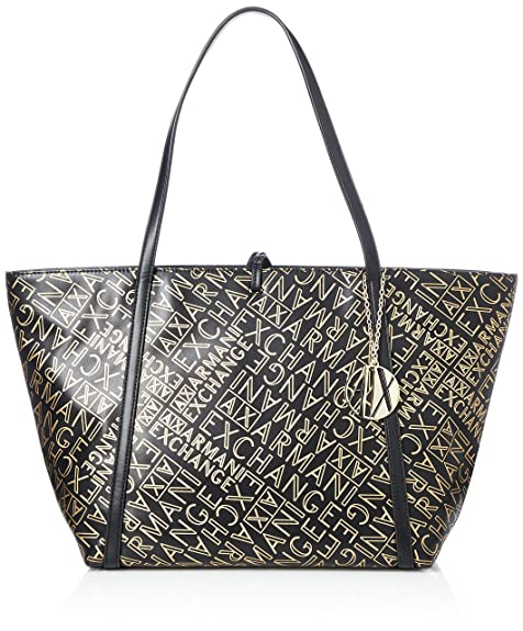 74ec451cab ARMANI EXCHANGE Gold Logo Shopping Bag - Borse Tote Donna, Oro (Black/Gold