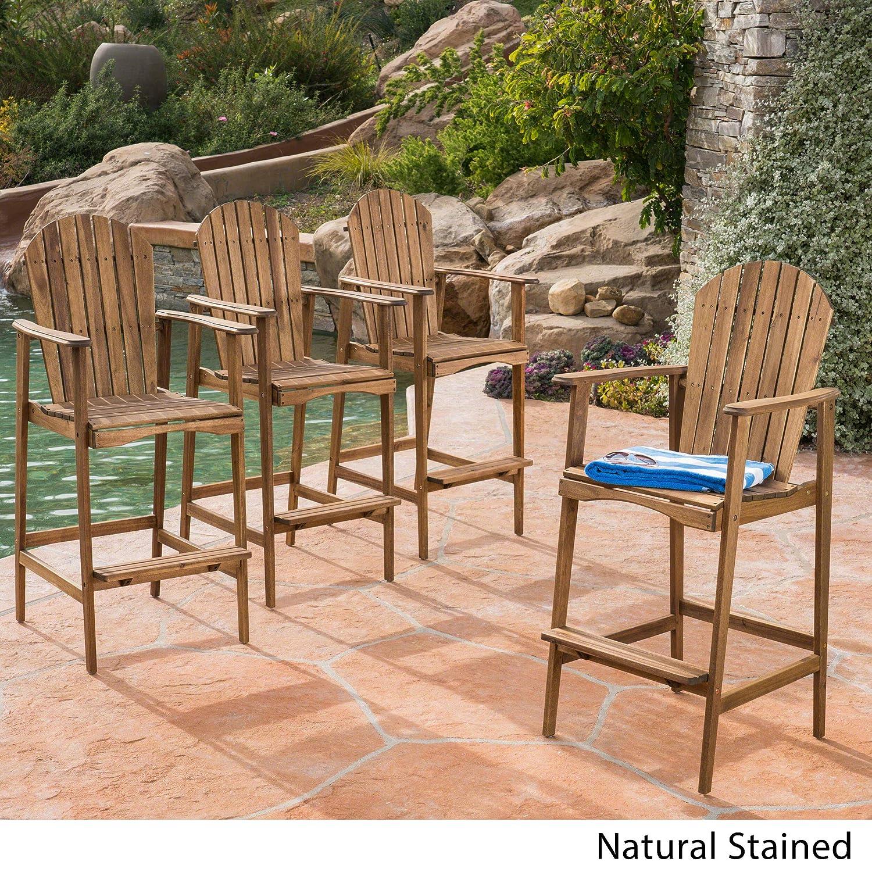Great Deal Furniture Malibu Outdoor Natural Stained Acacia Wood Adirondack Barstools Set of 4