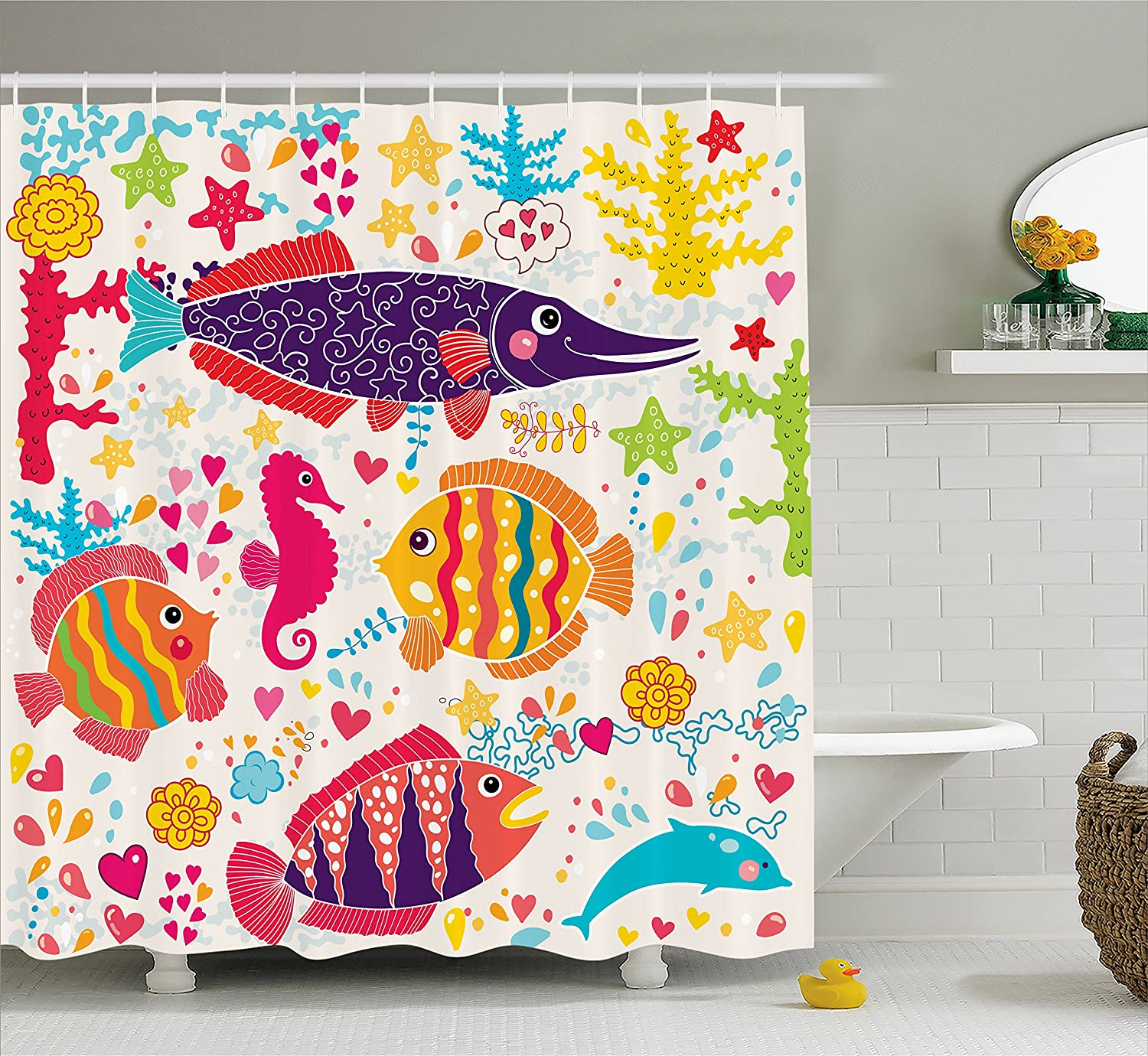 Ambesonne Sea Animals Shower Curtain, Cartoon Art with Fish Seahorse Starfish Dolphin Coral Underwater Life Kids, Fabric Bathroom Decor Set with Hooks, 70 Inches, Multicolor