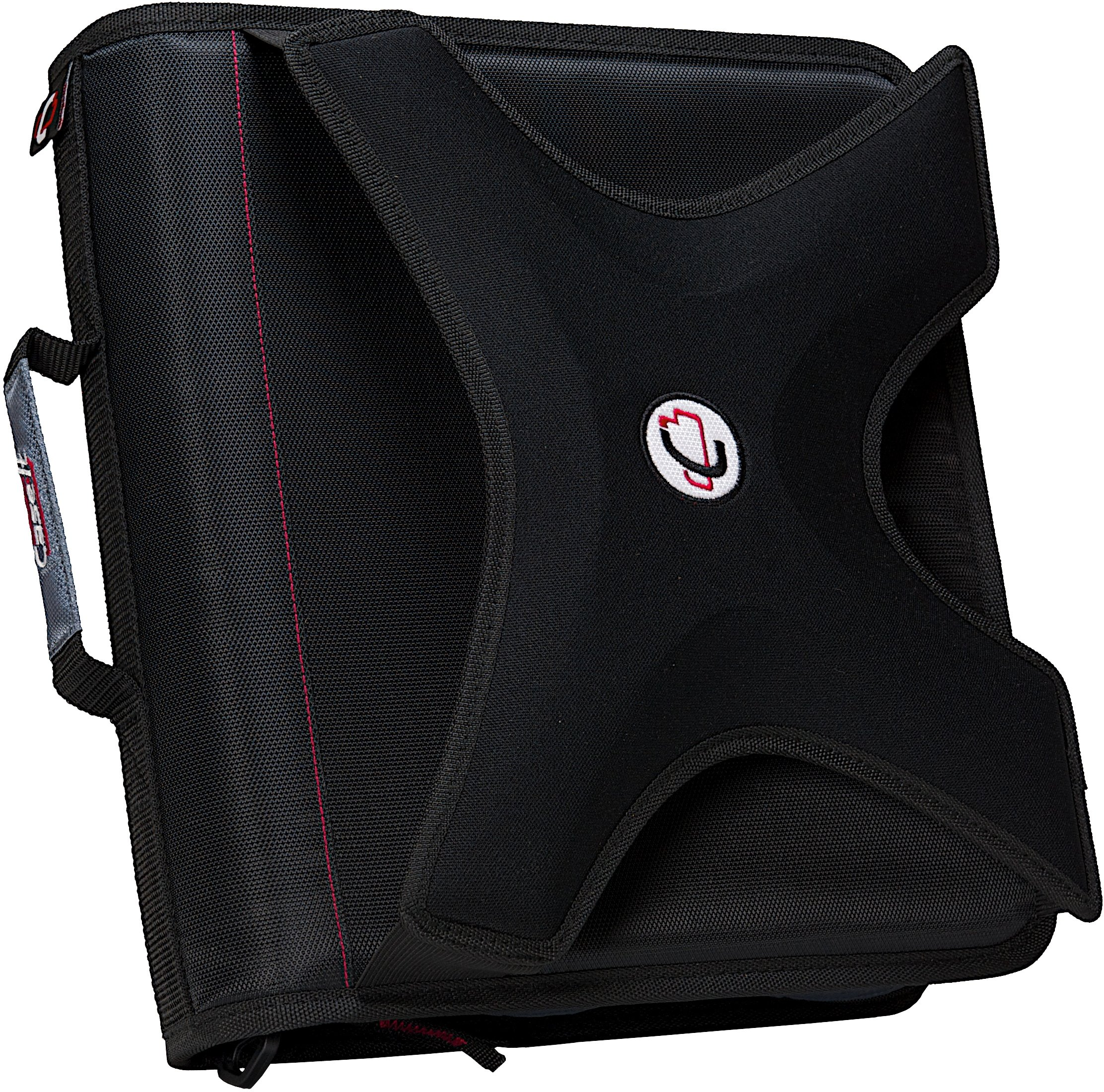 Case-it X-Hugger 2-Inch Round Ring Zipper Binder with Book Holder on Front, Black, X-351-BLK