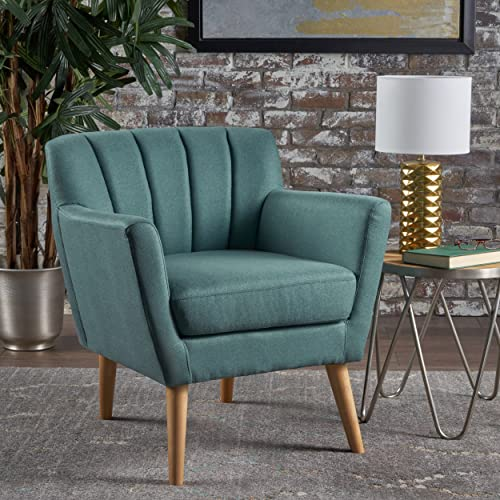 Christopher Knight Home Merel Mid Century Modern Fabric Club Chair, Dark Teal Natural
