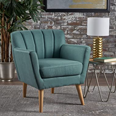 Christopher Knight Home Merel Mid Century Modern Fabric Club Chair, Dark Teal/Natural