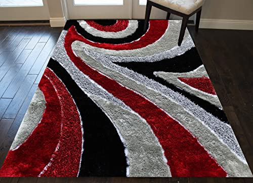8 x10 Feet Carved 3D Cozy Shag Shaggy Area Rug Carpet Bedroom Living Room Red Black Gray Grey Silver Colors Modern Contemporary Indoor Bedroom Living Room Hand Woven Canvas Backing