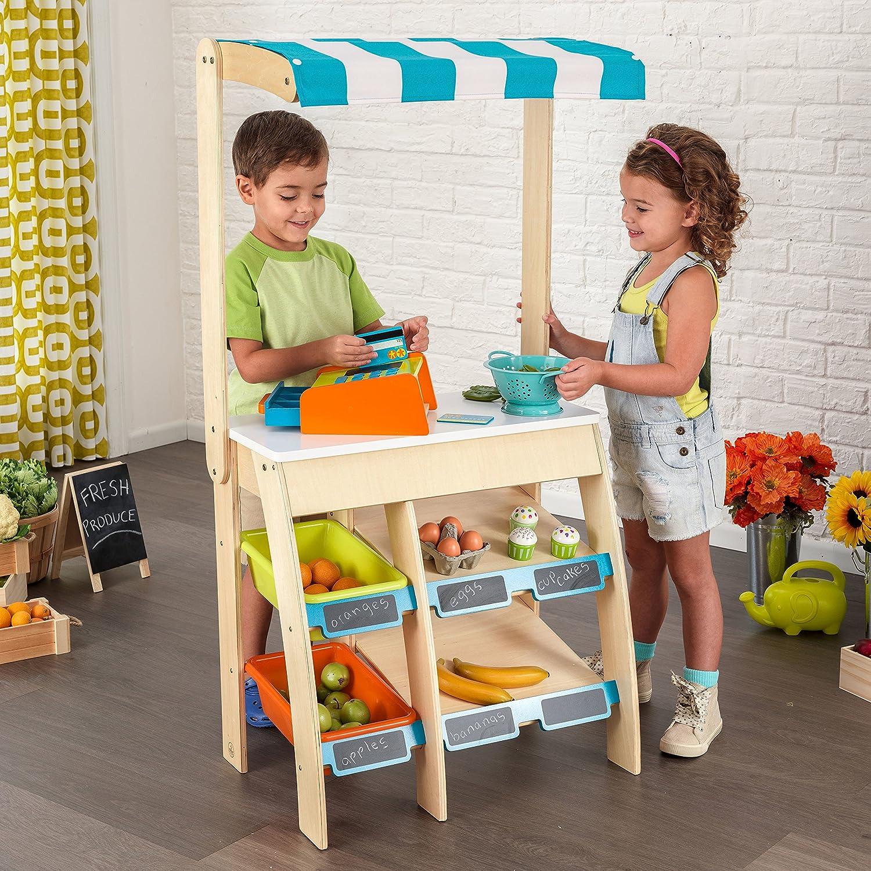 KidKraft 53017 Puesto de mercado con comestibles Play Grocery Store Marketplace de madera juego de imitaci/ón para ni/ños con accesorios incluidos