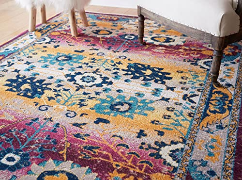 Chaka Purple Yellow Vintage Tribal Medallion Short Pile Kilim-Style Modern 5×8 5 3 x 7 3 Area Rug Antique Weathered Oriental Multicolor Pattern