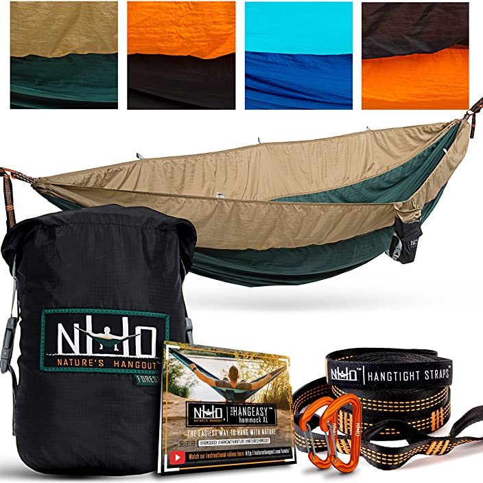 The HangEasy Portable Camping Hammock - Free Premium Adjustable Hanging Straps & Ultralight Carabiners. Tear Resistant Parachute Nylon. Large Double Size