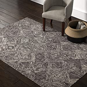 "Rivet Motion Modern Patterned Wool Area Rug, 5' x 7' 6"", Charcoal"