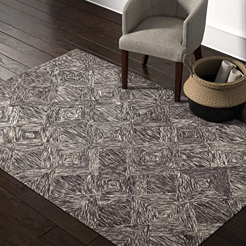 Rivet Motion Modern Patterned Wool Area Rug, 5 x 7 6 , Charcoal