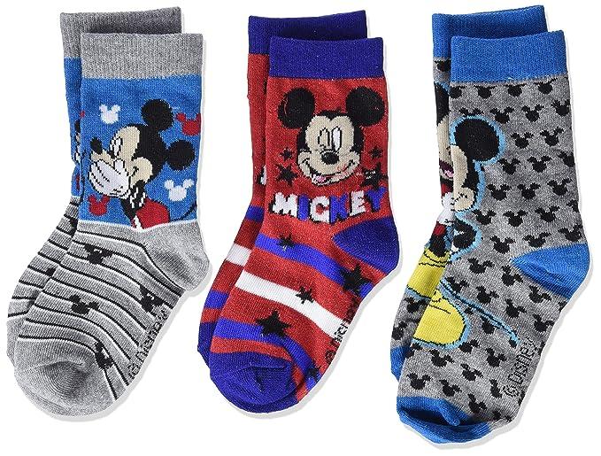 Disney Mickey Mouse, Calcetines para Niños, Multicolor (Pack1 Grey Melange), 8