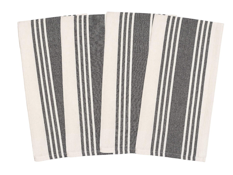 Overzised Kitchen Towels - Dish Cloth - (4 Pack) Machine Washable 100% Cotton Kitchen Dishcloths, Dish Towel & Tea Towels, Stripe, 20x27 Inch - Superior Professional Grade, Multi Purpose - Gray