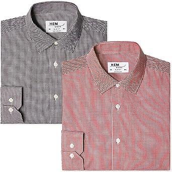 Marca Amazon find. Camisa de Cuadros Vichy Slim Fit Hombre