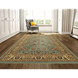 "Ottomanson Ottohome Collection Persian Style Oriental Rugs with Non-Skid (Non-Slip) Rubber Backing Area Rug, 98"" L x 118"" W, Sage Green/Aqua Blue"