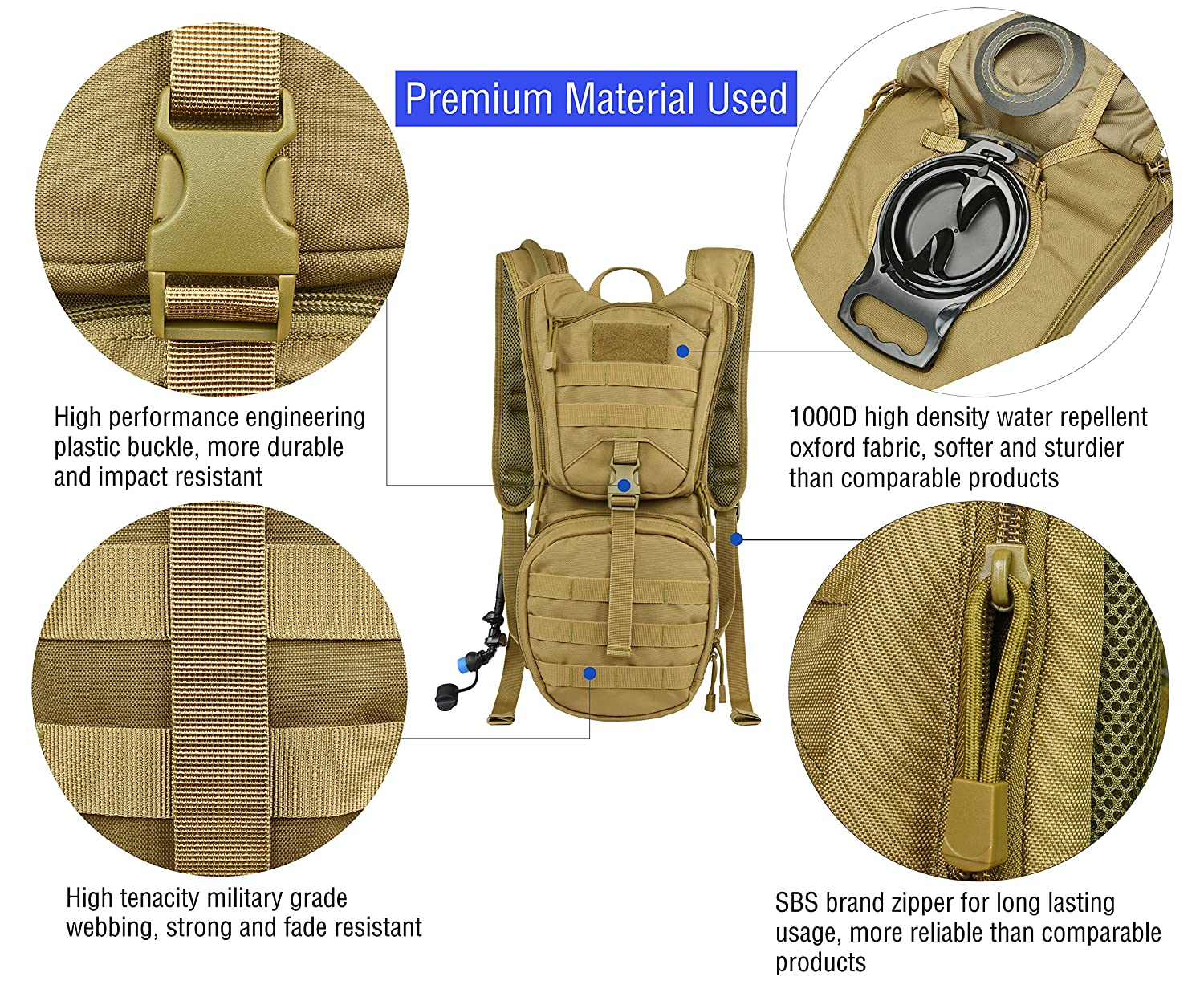 Running Military Daypack for Cycling MARCHWAY Tactical Molle Hydration Pack Backpack with 3L TPU Water Bladder Biking Hunting Climbing Hiking