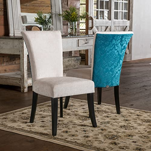 Christopher Knight Home Stanford Dining Chair Set of 2 , Ivory and Teal