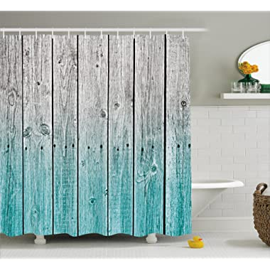 Ambesonne Rustic Shower Curtain, Wood Panels Background with Digital Tones Effect Country House Image, Fabric Bathroom Decor Set with Hooks, 70 Inches