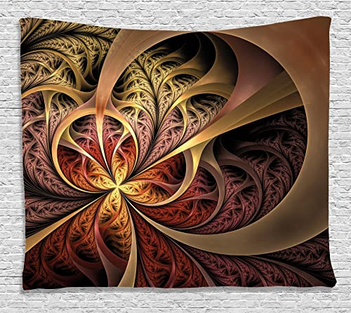 Ambesonne 3D Tapestry Fractal Decor, Gothic Artsy Swirl Lines Creative Medieval Inspired Display Print, Wall Hanging for Bedroom Living Room Dorm, 60WX40L Inches, with Free 3D Glasses, Golden Pink