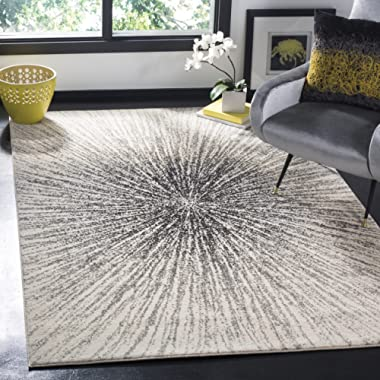 Safavieh Evoke Collection EVK228K Contemporary Burst Black and Ivory Area Rug (8' x 10')