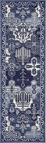 Unique Loom La Jolla Collection Tone-on-Tone Traditional Blue Runner Rug 2 0 x 6 0