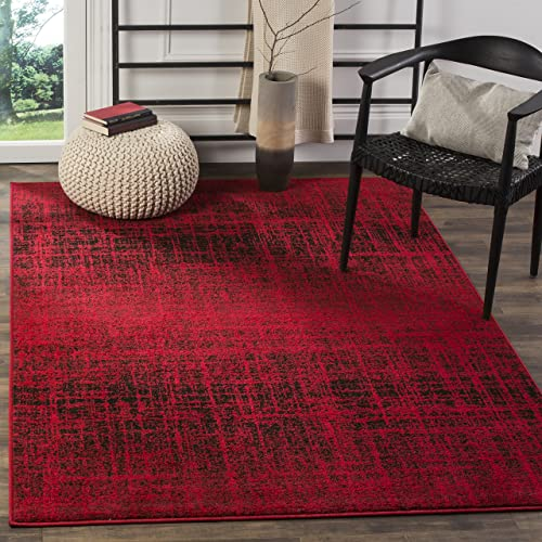 Safavieh Adirondack Collection ADR116F Red and Black Modern Abstract Area Rug 4 x 6