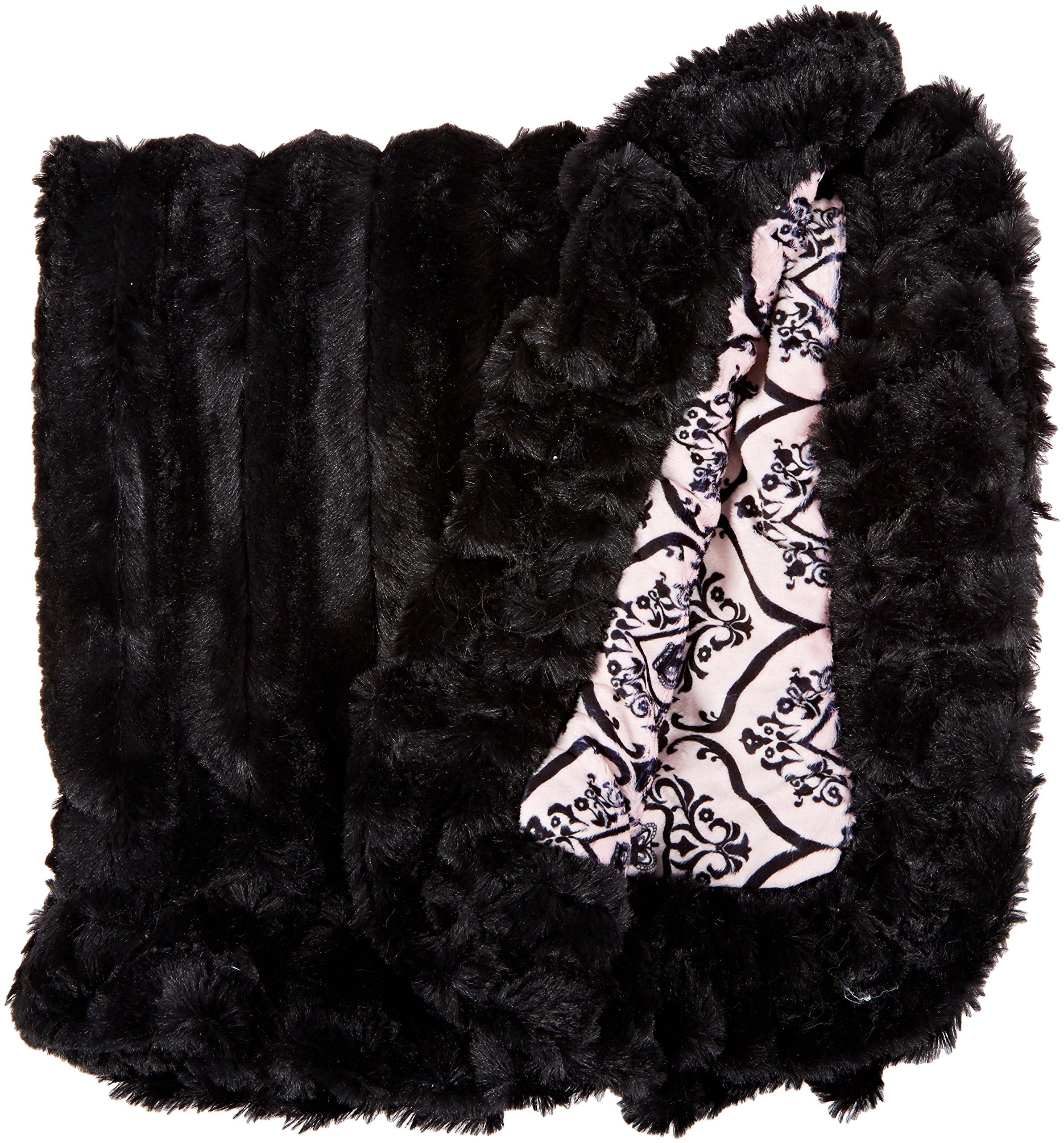 BESSIE AND BARNIE Versailles Pink/Black Puma Luxury Ultra Plush Faux Fur Pet, Dog, Cat, Puppy Super Soft Reversible Blanket (Multiple Sizes)