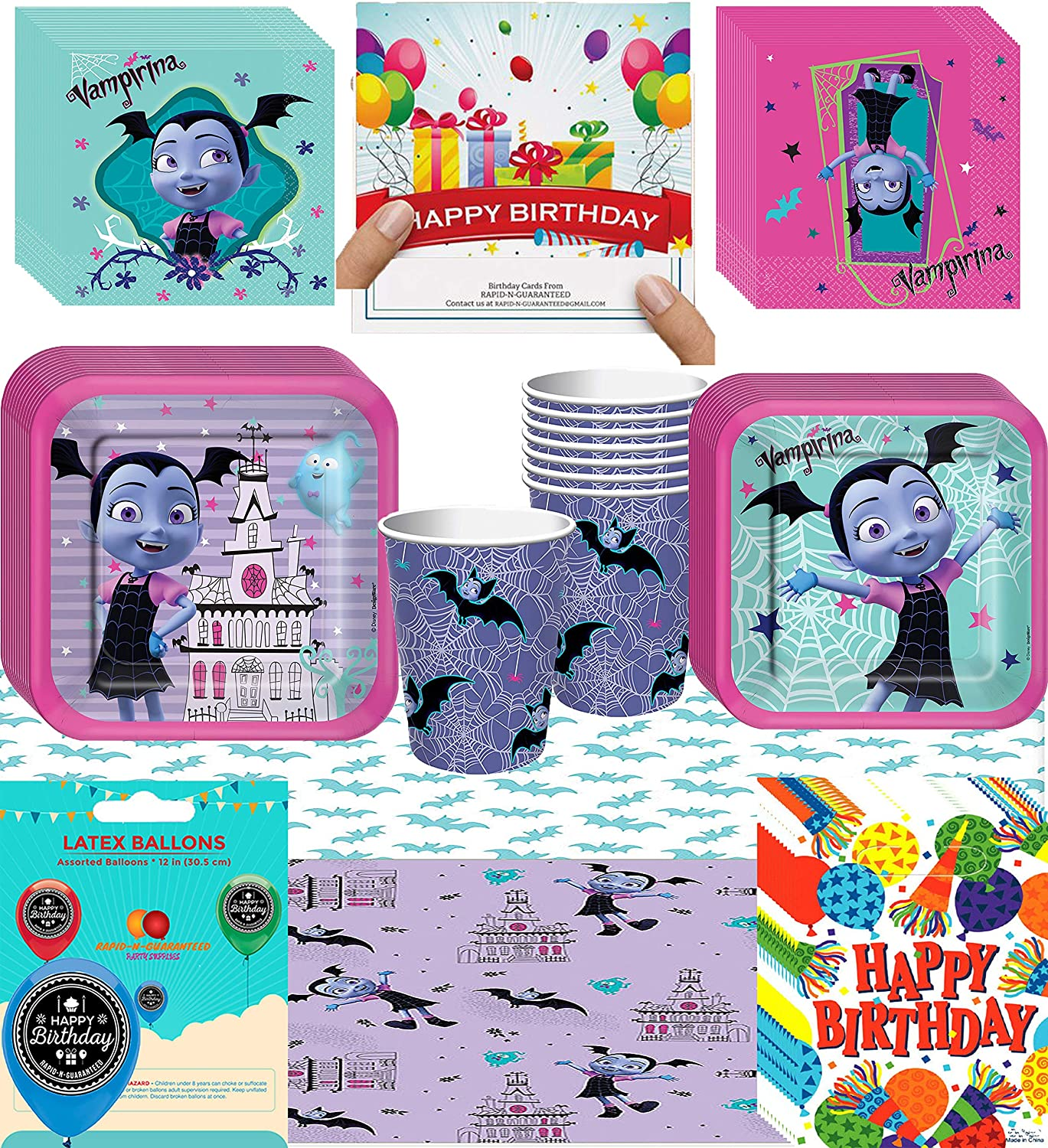 Amazon Vampirina Birthday Party Supplies Bundle Of Cups Plates Napkins Balloon Table Cover Happy Card And Treat Bags Toys Games