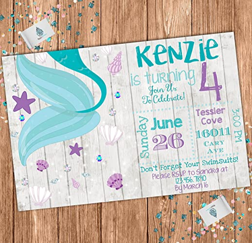 Image Unavailable Not Available For Color Mermaid Custom Birthday Invitation