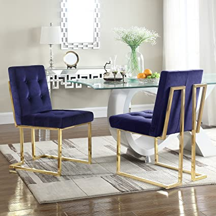 Iconic Home Liam Contemporary Brass Metal Frame Modern Tufted Velvet Polished Dining Side Chair Navy Set Of 2