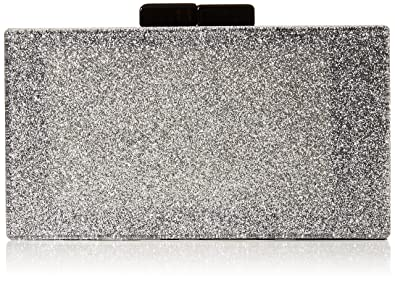 743b294ce76 Image Unavailable. Image not available for. Colour: Quiz Womens Glitter Box  Clutch Bag Clutch Silver ...