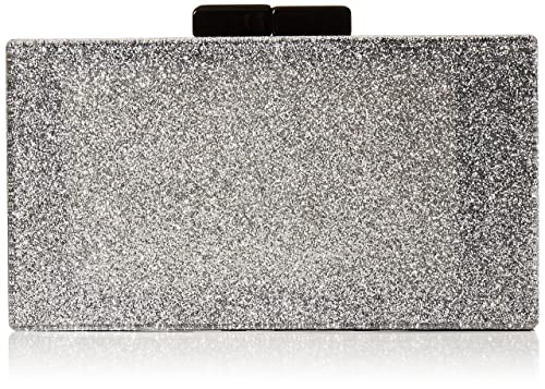 Quiz - Glitter Box Clutch Bag, Carteras de mano Mujer, Plateado (Silver)