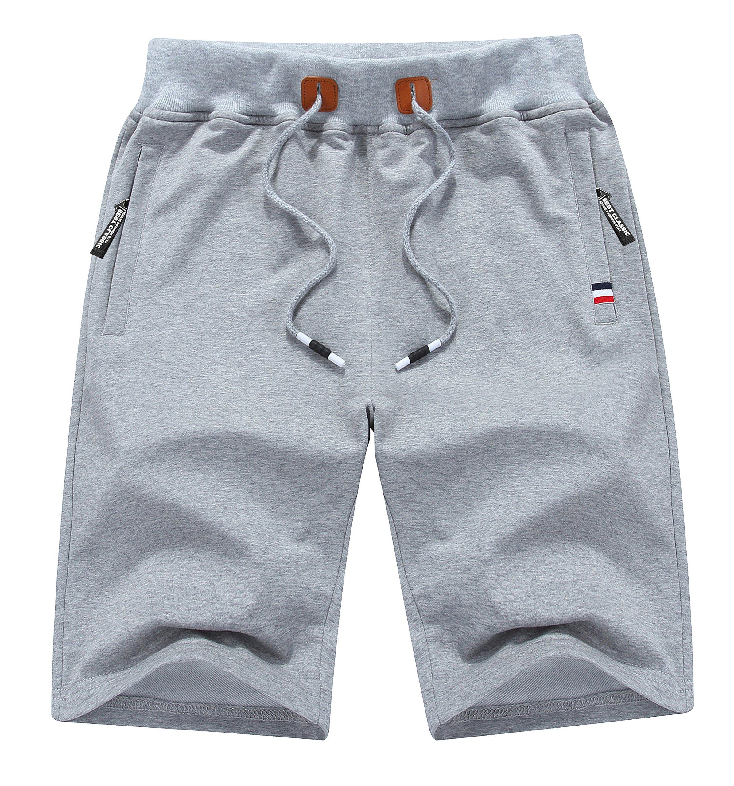 MO GOOD Mens Casual Shorts Workout Fashion Comfy Shorts Summer Breathable Loose Shorts (Grey, US (38-39))