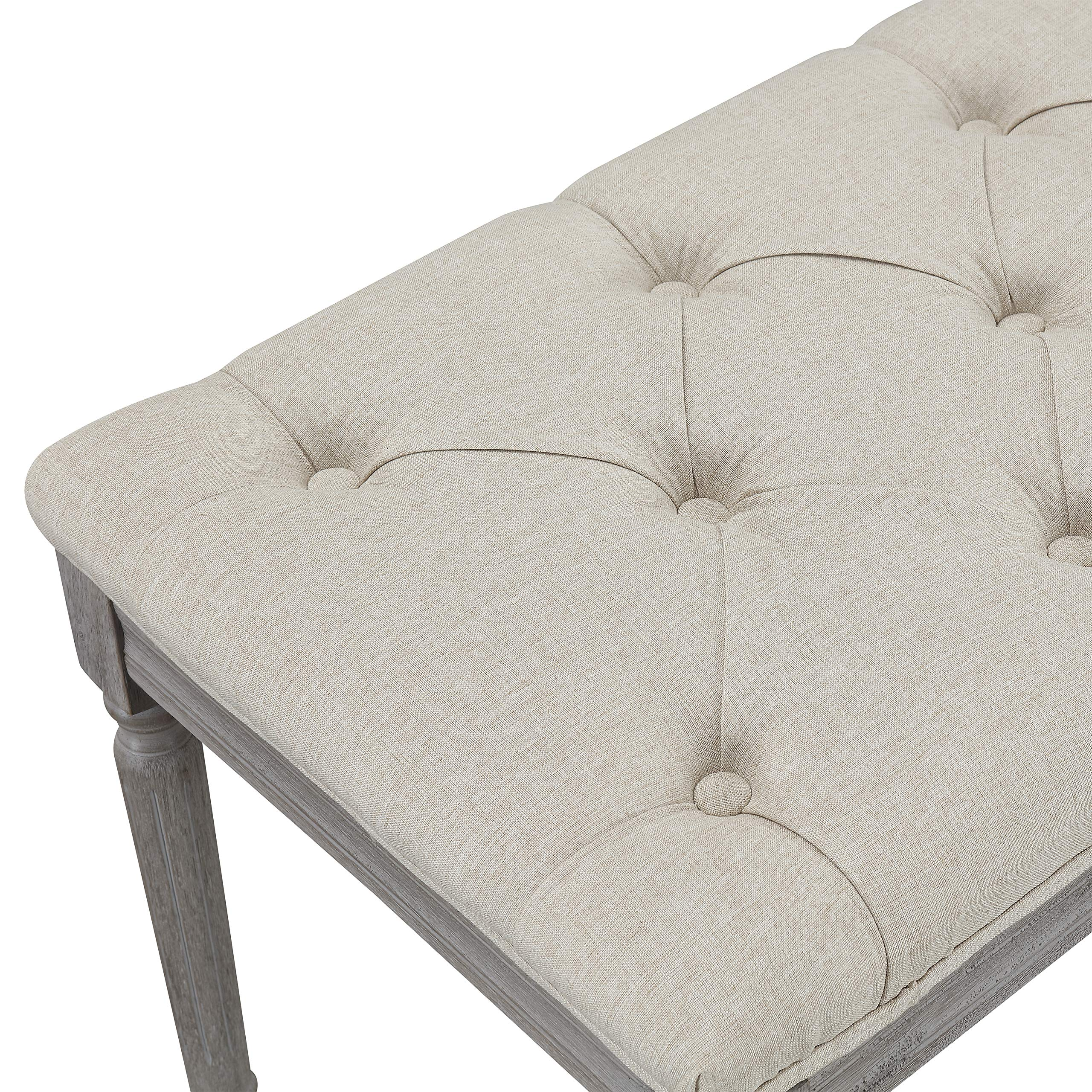 Jack Button Tufted Light Beige Upholstered Bench with Weathered Gray Legs by CHL CHRISTIES HOME LIVING (Image #6)