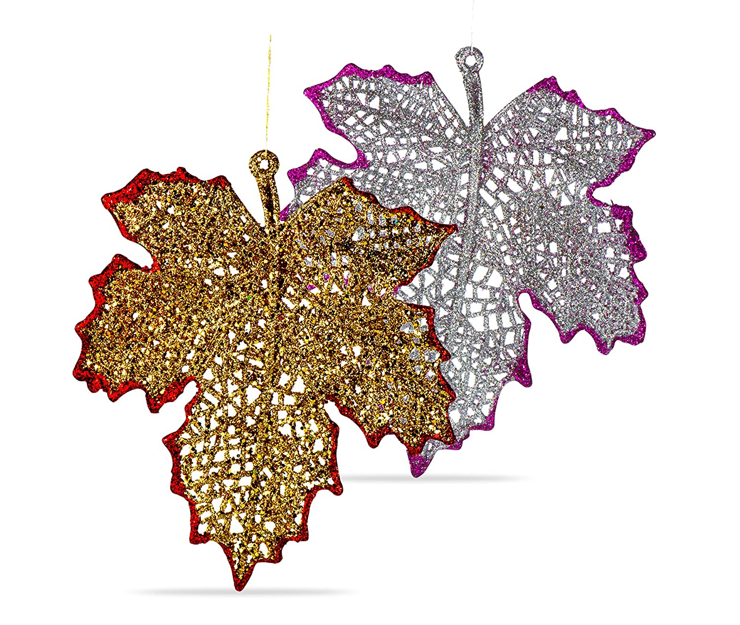 R N' D Toys Christmas Ornament Leaves, Shatterproof Hanging Ornaments for Christmas Tree, Indoor and Outdoor Christmas Holiday Home Decoration (Gold & Silver) R N' D Toys