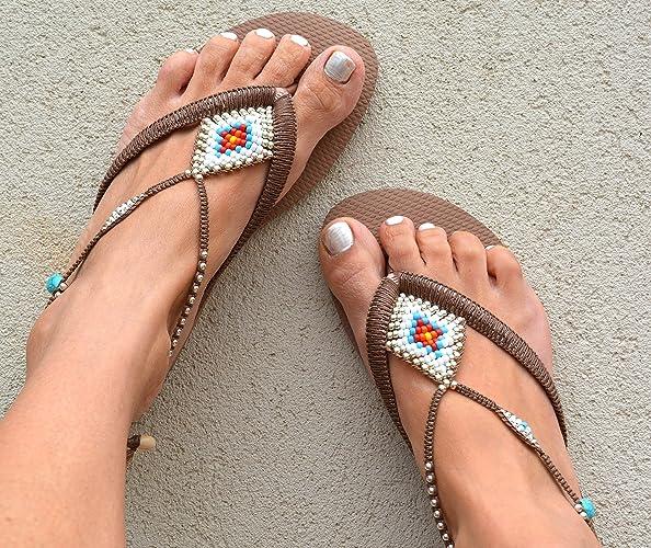 338b37e038e82 Amazon.com: Unique Women's Sandals, Boho Vegan Flat Beaded Shoes ...