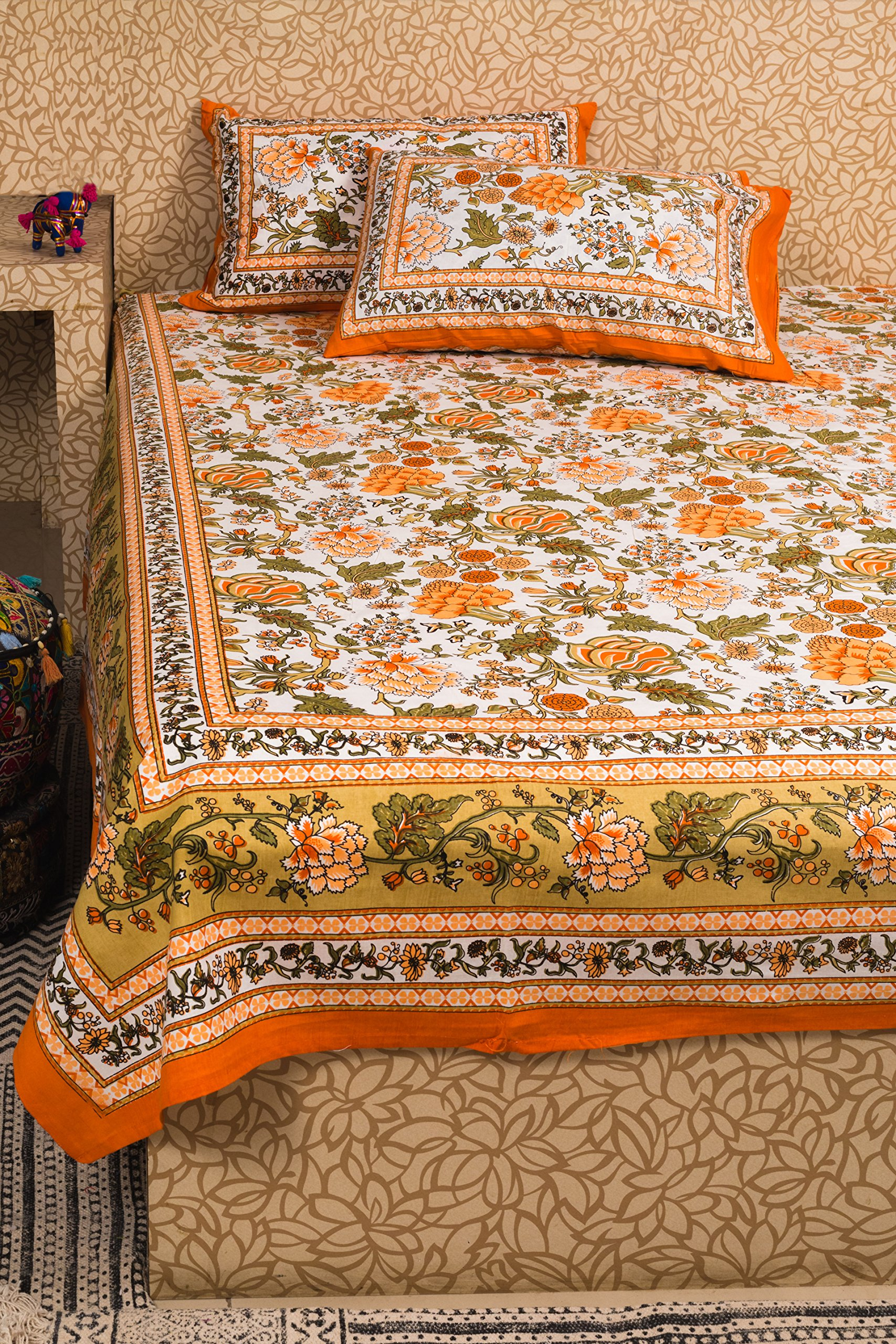 KunhaR Jaipur Screen printed Queen size 100% cotton double Bed sheet with 2 pillow covers