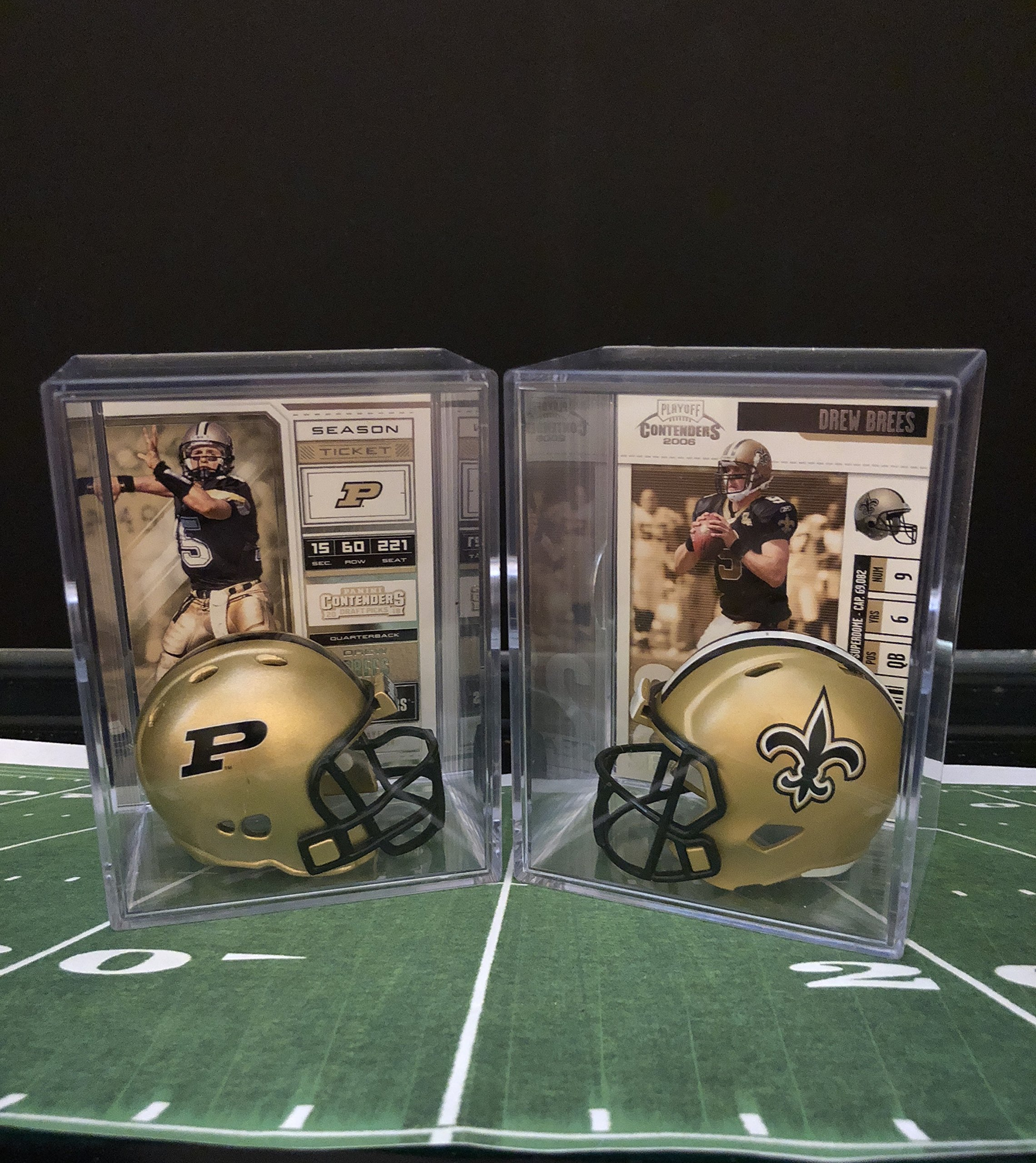 Drew Brees College and Pro Helmet Shadowbox w/card Set of 2