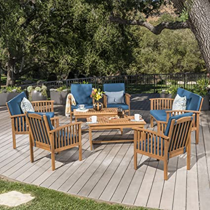 Phenomenal Christopher Knight Home 302285 Carolina Outdoor 8 Piece Patina Acacia Wood Sofa Set Brown Dark Teal Caraccident5 Cool Chair Designs And Ideas Caraccident5Info