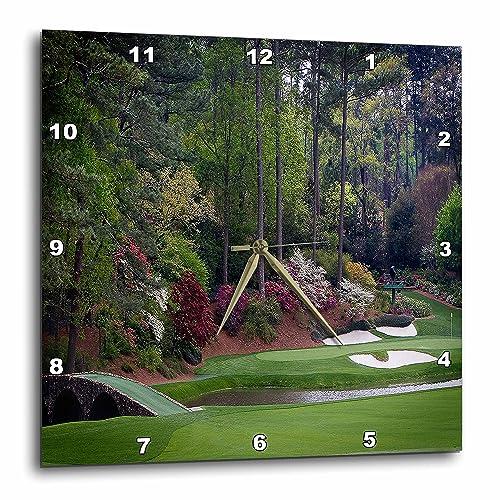 3dRose DPP_131410_3 Augustas Amen Corner Golf Course Golfers on Bridge Wall Clock, 15 by 15