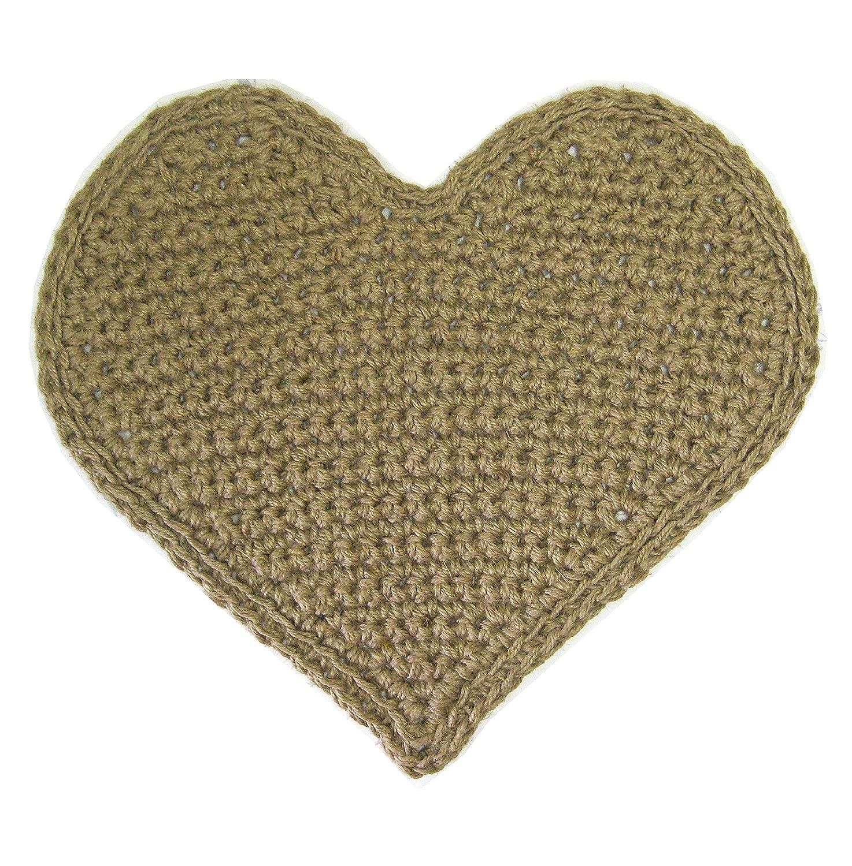 Area Jute Rug - Heart Shaped - Natural Fiber - Handmade Crochet - 26