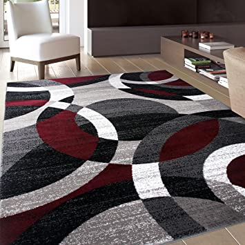 Amazon Com Contemporary Modern Circles Abstract Area Rug 5 3 X 7 3 Red Home Kitchen
