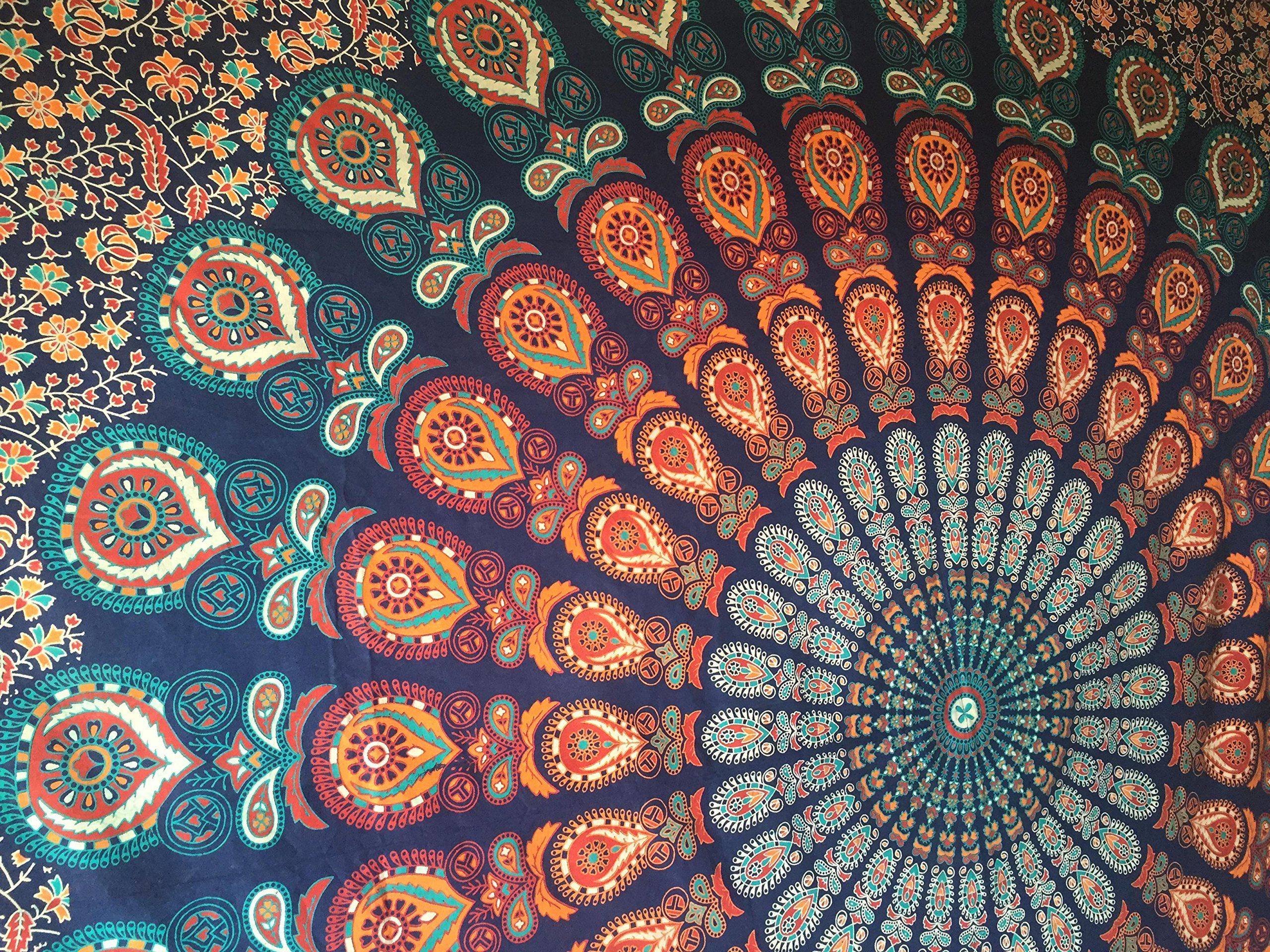 The Boho Street - Exclusive 100% Cotton Mandala Tapestry, Indian Mandala Wall Art, Hippie Wall Hanging, Bohemian Bedspread